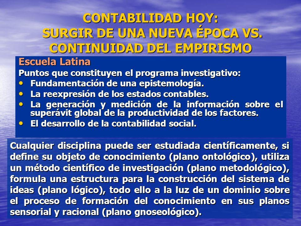 CONTABILIDAD HOY: SURGIR DE UNA NUEVA ÉPOCA VS. CONTINUIDAD DEL EMPIRISMO Escuela Latina Puntos que constituyen el programa investigativo: Fundamentac