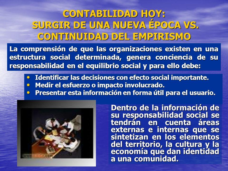 CONTABILIDAD HOY: SURGIR DE UNA NUEVA ÉPOCA VS. CONTINUIDAD DEL EMPIRISMO Identificar las decisiones con efecto social importante. Identificar las dec