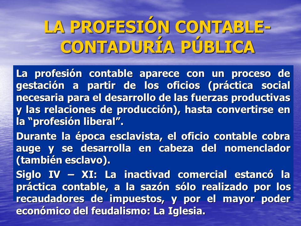 LA PROFESIÓN CONTABLE- CONTADURÍA PÚBLICA La profesión contable aparece con un proceso de gestación a partir de los oficios (práctica social necesaria