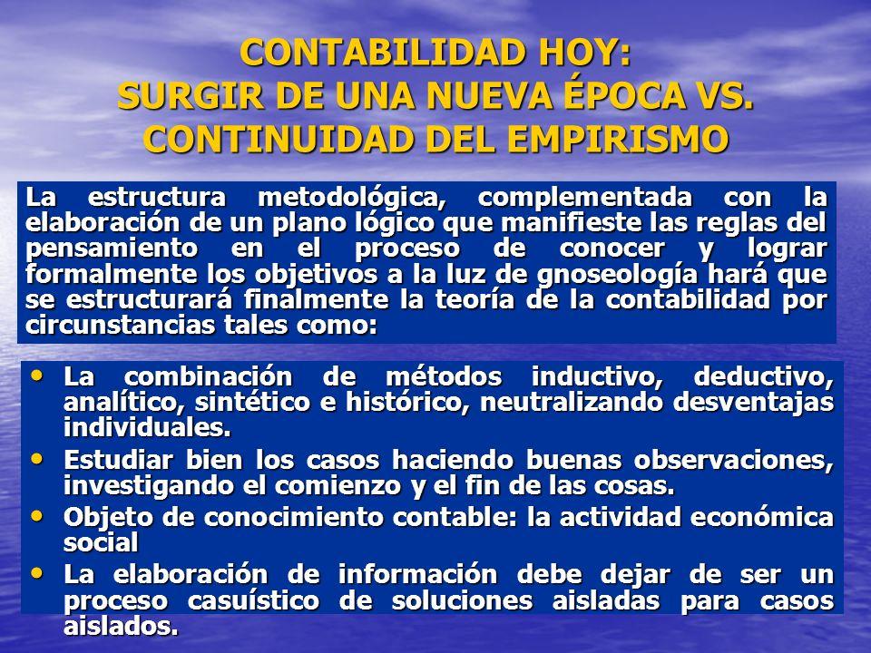 CONTABILIDAD HOY: SURGIR DE UNA NUEVA ÉPOCA VS. CONTINUIDAD DEL EMPIRISMO La combinación de métodos inductivo, deductivo, analítico, sintético e histó