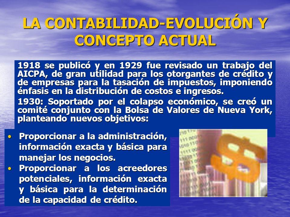 LA CONTABILIDAD-EVOLUCIÓN Y CONCEPTO ACTUAL 1918 se publicó y en 1929 fue revisado un trabajo del AICPA, de gran utilidad para los otorgantes de crédi