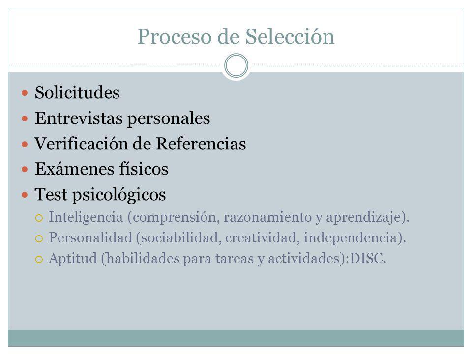 Proceso de Selección Solicitudes Entrevistas personales Verificación de Referencias Exámenes físicos Test psicológicos Inteligencia (comprensión, razo