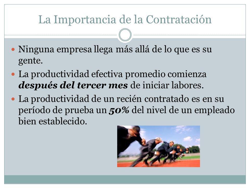 La Importancia de la Contratación Ninguna empresa llega más allá de lo que es su gente. La productividad efectiva promedio comienza después del tercer