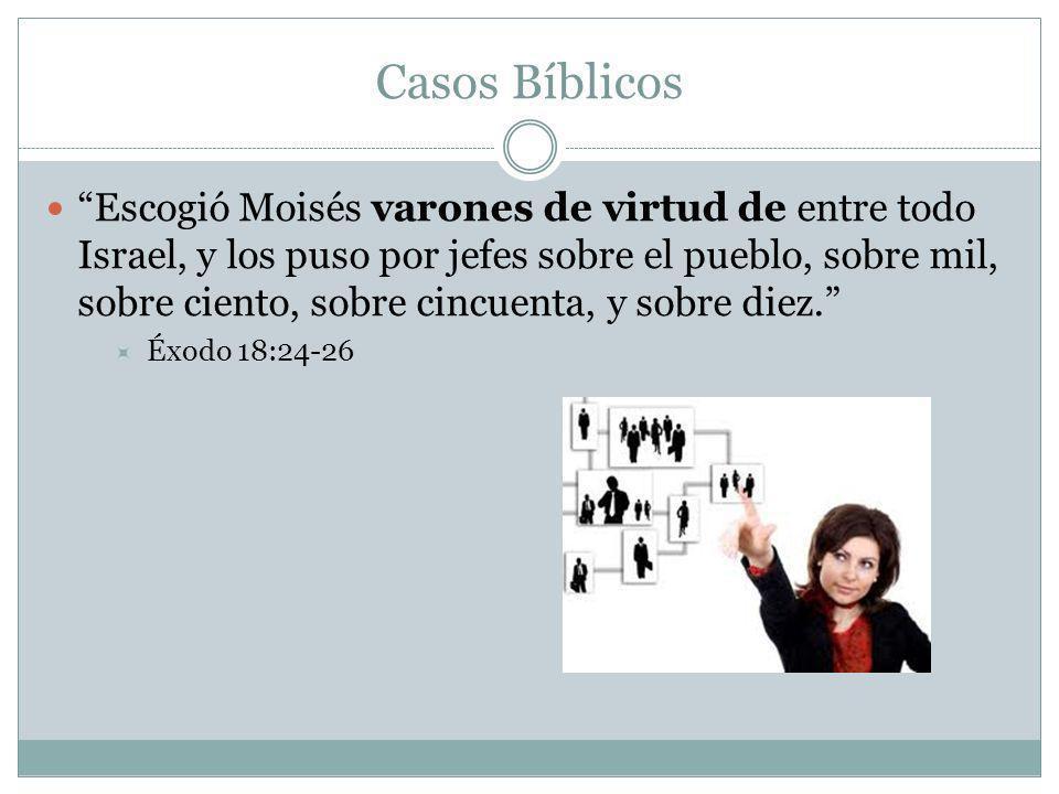 Casos Bíblicos Escogió Moisés varones de virtud de entre todo Israel, y los puso por jefes sobre el pueblo, sobre mil, sobre ciento, sobre cincuenta,