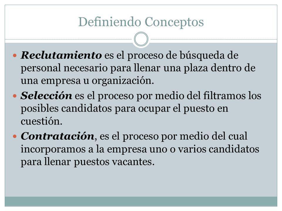 Definiendo Conceptos Reclutamiento es el proceso de búsqueda de personal necesario para llenar una plaza dentro de una empresa u organización. Selecci