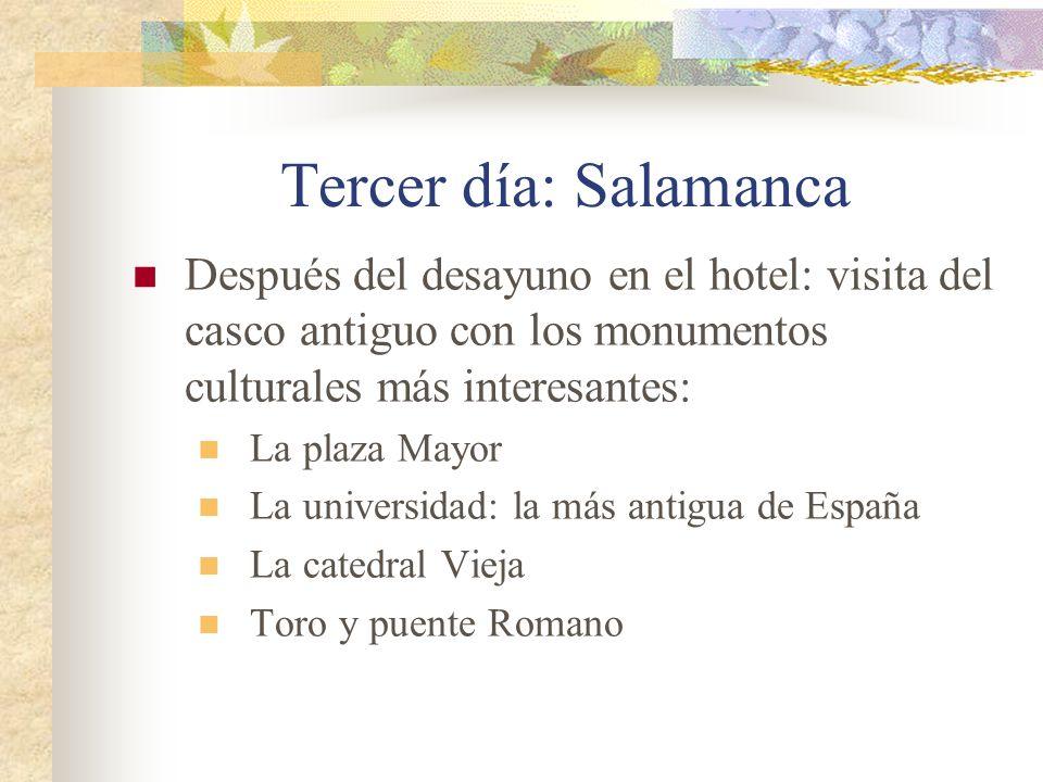 Después del desayuno en el hotel: visita del casco antiguo con los monumentos culturales más interesantes: La plaza Mayor La universidad: la más antigua de España La catedral Vieja Toro y puente Romano