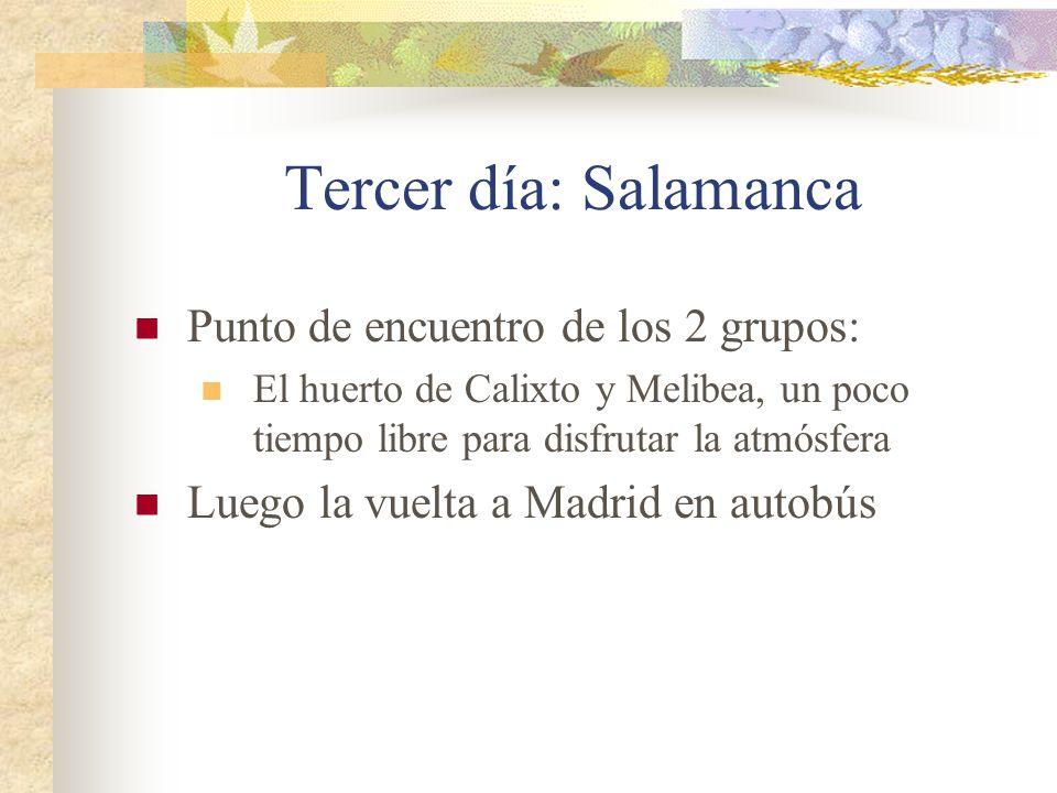 Tercer día: Salamanca Punto de encuentro de los 2 grupos: El huerto de Calixto y Melibea, un poco tiempo libre para disfrutar la atmósfera Luego la vuelta a Madrid en autobús