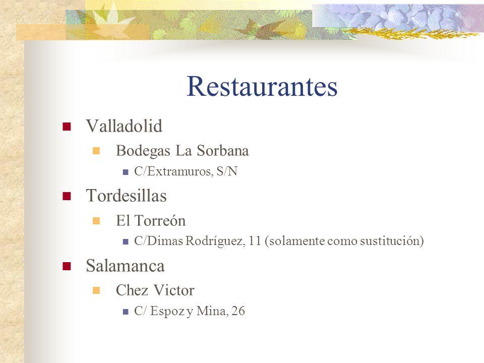 Restaurantes Valladolid Bodegas La Sorbana C/Extramuros, S/N Tordesillas El Torreón C/Dimas Rodríguez, 11 (solamente como sustitución) Salamanca Chez Victor C/ Espoz y Mina, 26