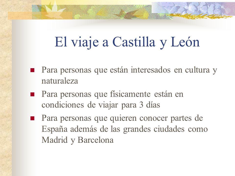 El viaje a Castilla y León Para personas que están interesados en cultura y naturaleza Para personas que físicamente están en condiciones de viajar para 3 días Para personas que quieren conocer partes de España además de las grandes ciudades como Madrid y Barcelona