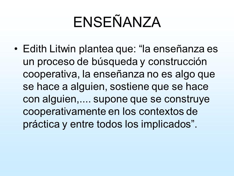 ENSEÑANZA Edith Litwin plantea que: la enseñanza es un proceso de búsqueda y construcción cooperativa, la enseñanza no es algo que se hace a alguien,