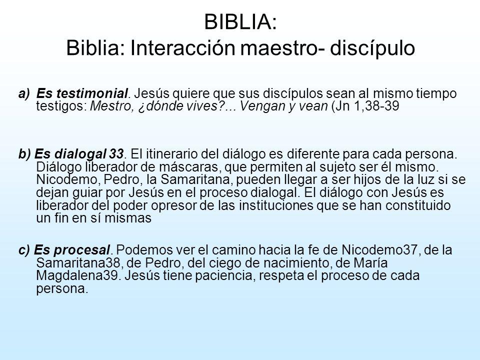 BIBLIA: Biblia: Interacción maestro- discípulo a)Es testimonial. Jesús quiere que sus discípulos sean al mismo tiempo testigos: Mestro, ¿dónde vives?.