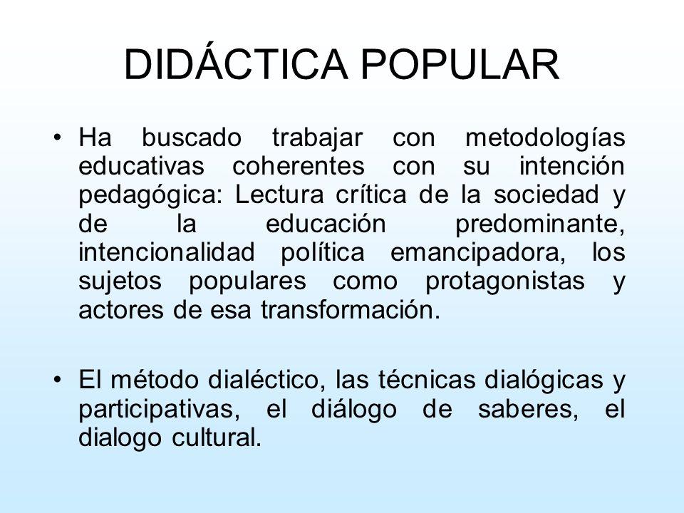 DIDÁCTICA POPULAR Ha buscado trabajar con metodologías educativas coherentes con su intención pedagógica: Lectura crítica de la sociedad y de la educa