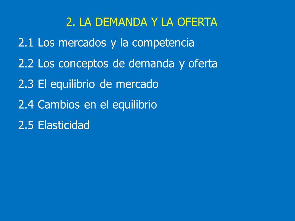 2. LA DEMANDA Y LA OFERTA 2.1 Los mercados y la competencia 2.2 Los conceptos de demanda y oferta 2.3 El equilibrio de mercado 2.4 Cambios en el equil