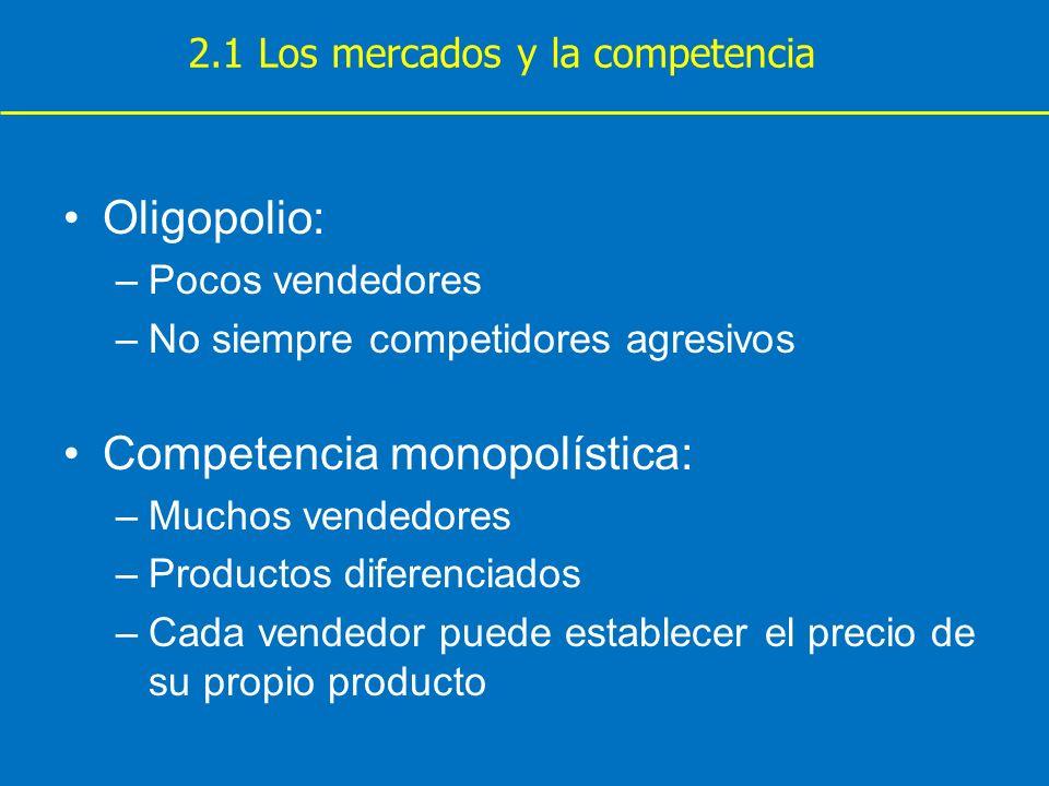 Oligopolio: –Pocos vendedores –No siempre competidores agresivos Competencia monopolística: –Muchos vendedores –Productos diferenciados –Cada vendedor