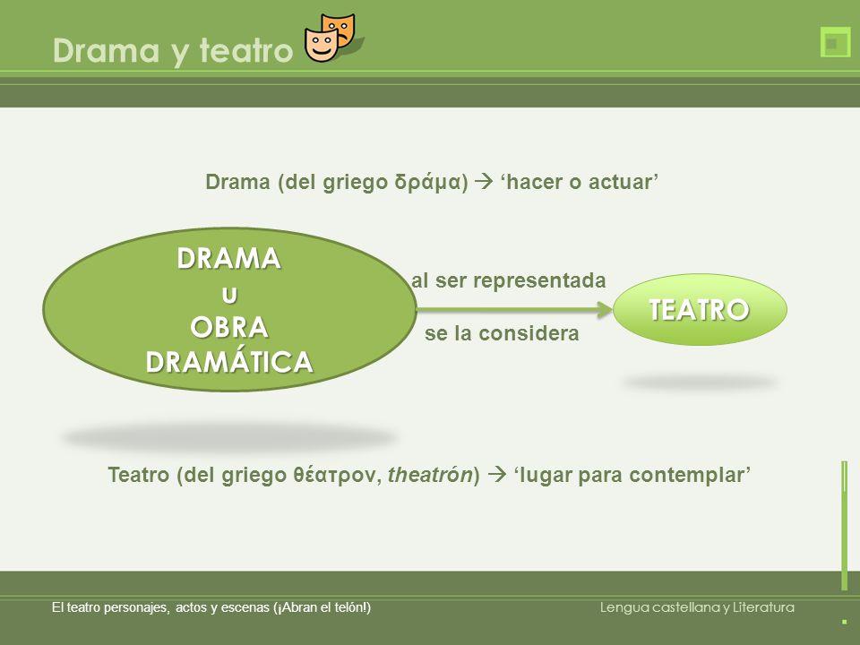 Drama y teatro El teatro personajes, actos y escenas (¡Abran el telón!) Lengua castellana y Literatura DRAMAu OBRA DRAMÁTICA TEATRO al ser representad