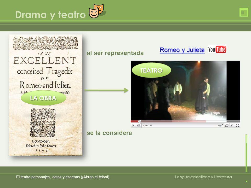Drama y teatro El teatro personajes, actos y escenas (¡Abran el telón!) Lengua castellana y Literatura Romeo y Julieta Romeo y Julieta al ser represen