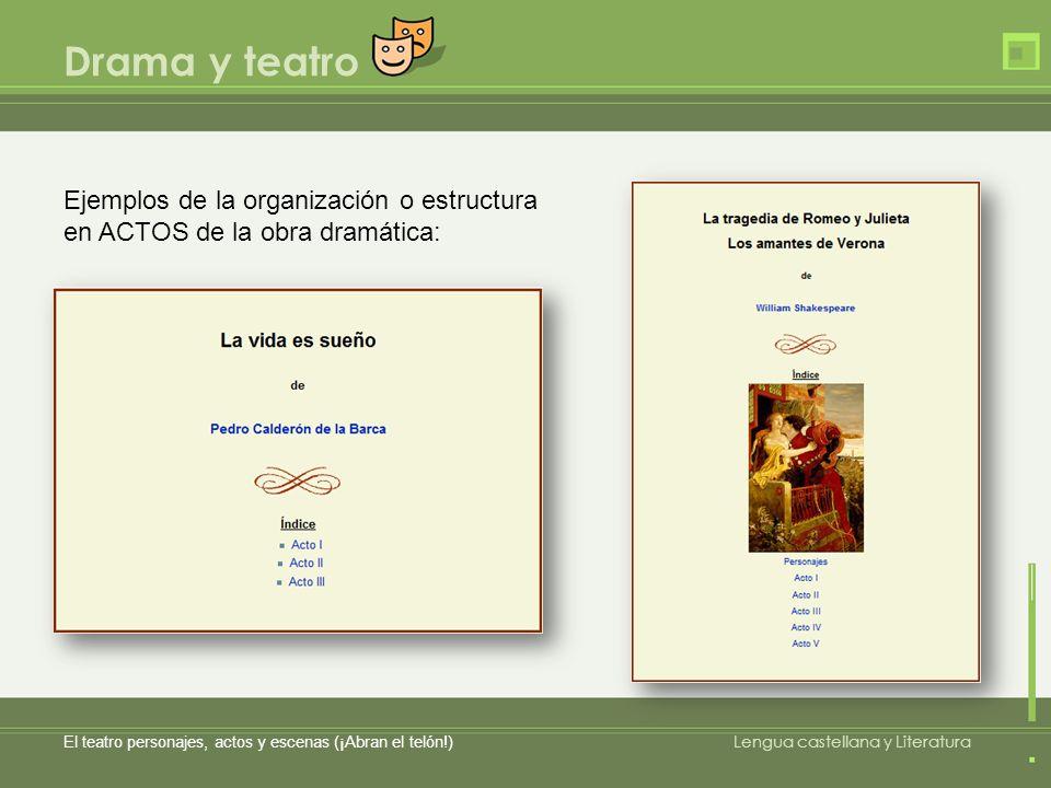 Drama y teatro El teatro personajes, actos y escenas (¡Abran el telón!) Lengua castellana y Literatura Ejemplos de la organización o estructura en ACT