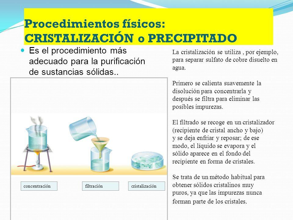 Procedimientos físicos: DESTILACIÓN Permite separar una mezcla de líquidos que presenten distintos puntos de ebullición. termómetro tubo refrigerante