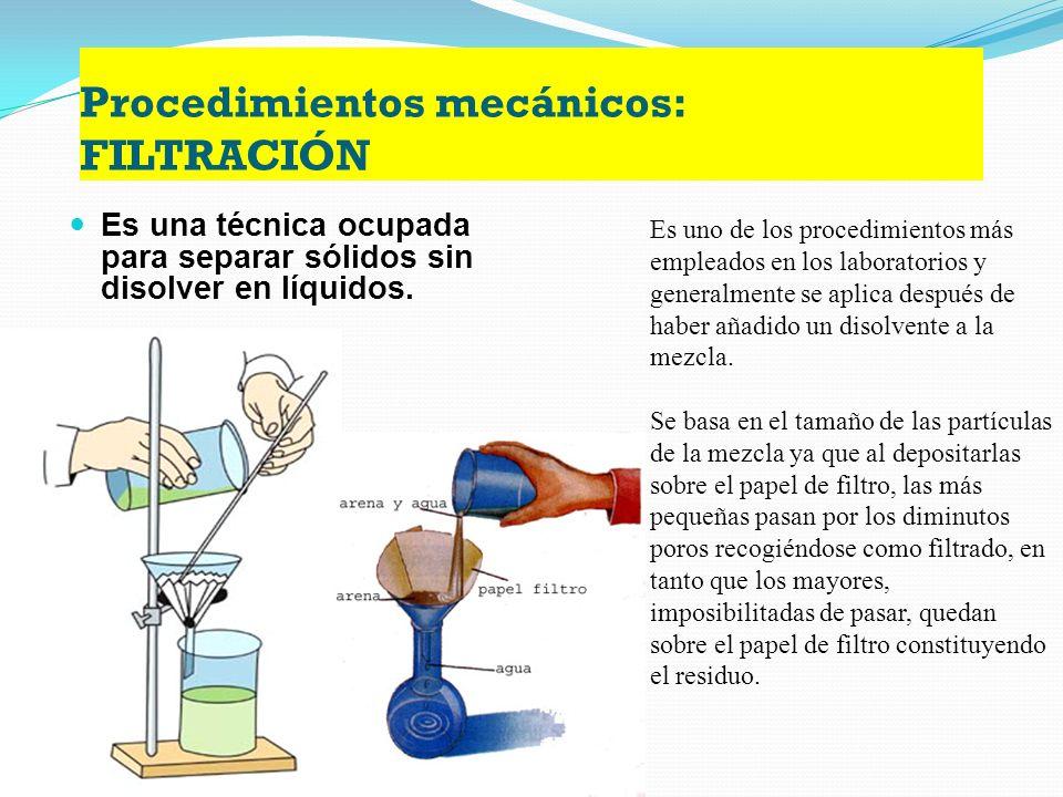 Procedimientos físicos: CROMATOGRAFÍA Permite separar una mezcla homogéneas que presenten diferentes velocidades. Este procedimiento consiste en la se