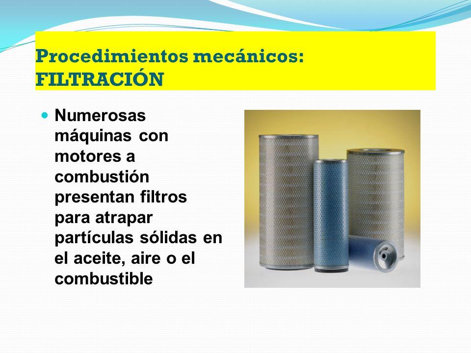 Procedimientos mecánicos: FILTRACIÓN Es una técnica ocupada para separar sólidos sin disolver en líquidos. Es uno de los procedimientos más empleados