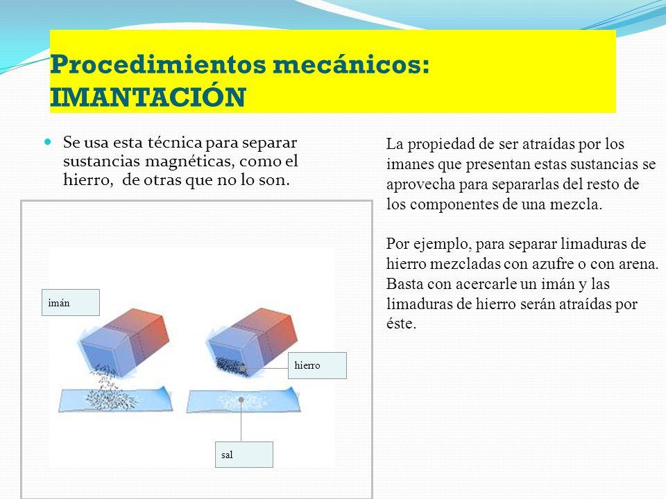 Procedimientos mecánicos: TAMIZADO Se emplea para separar los componentes de una mezcla de sólidos de distinto tamaño Consiste en hacer pasar la mezcl