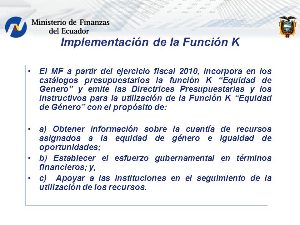 Implementación de la Función K El MF a partir del ejercicio fiscal 2010, incorpora en los catálogos presupuestarios la función K Equidad de Genero y emite las Directrices Presupuestarias y los instructivos para la utilización de la Función K Equidad de Género con el propósito de: a) Obtener información sobre la cuantía de recursos asignados a la equidad de género e igualdad de oportunidades; b) Establecer el esfuerzo gubernamental en términos financieros; y, c) Apoyar a las instituciones en el seguimiento de la utilización de los recursos.