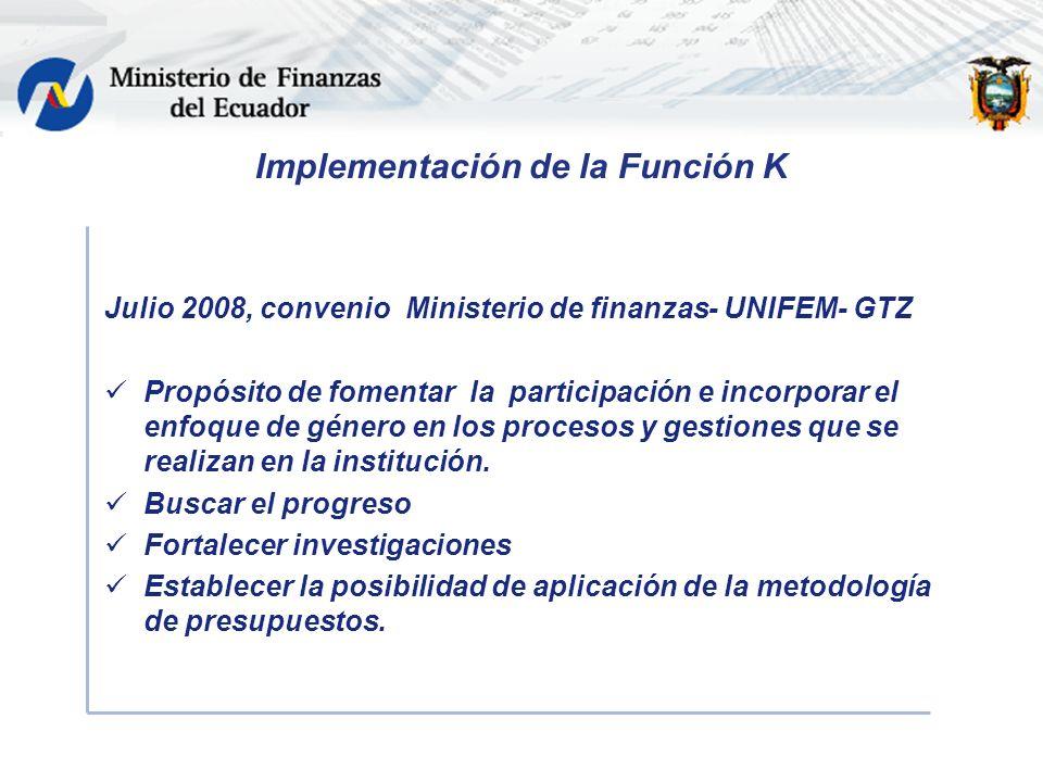 Implementación de la Función K Julio 2008, convenio Ministerio de finanzas- UNIFEM- GTZ Propósito de fomentar la participación e incorporar el enfoque de género en los procesos y gestiones que se realizan en la institución.