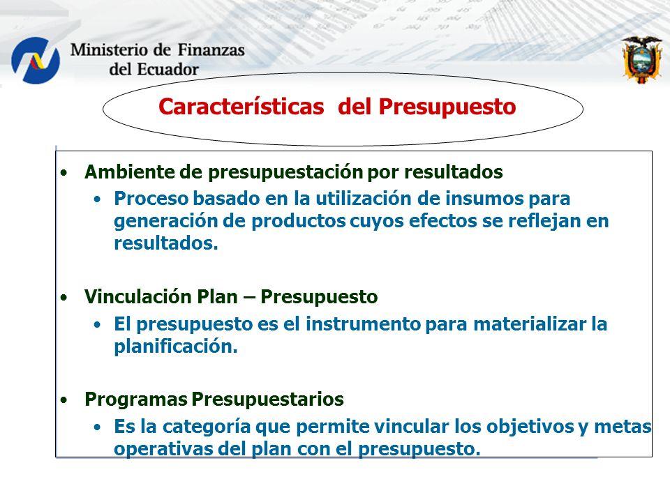 Características del Presupuesto Ambiente de presupuestación por resultados Proceso basado en la utilización de insumos para generación de productos cuyos efectos se reflejan en resultados.