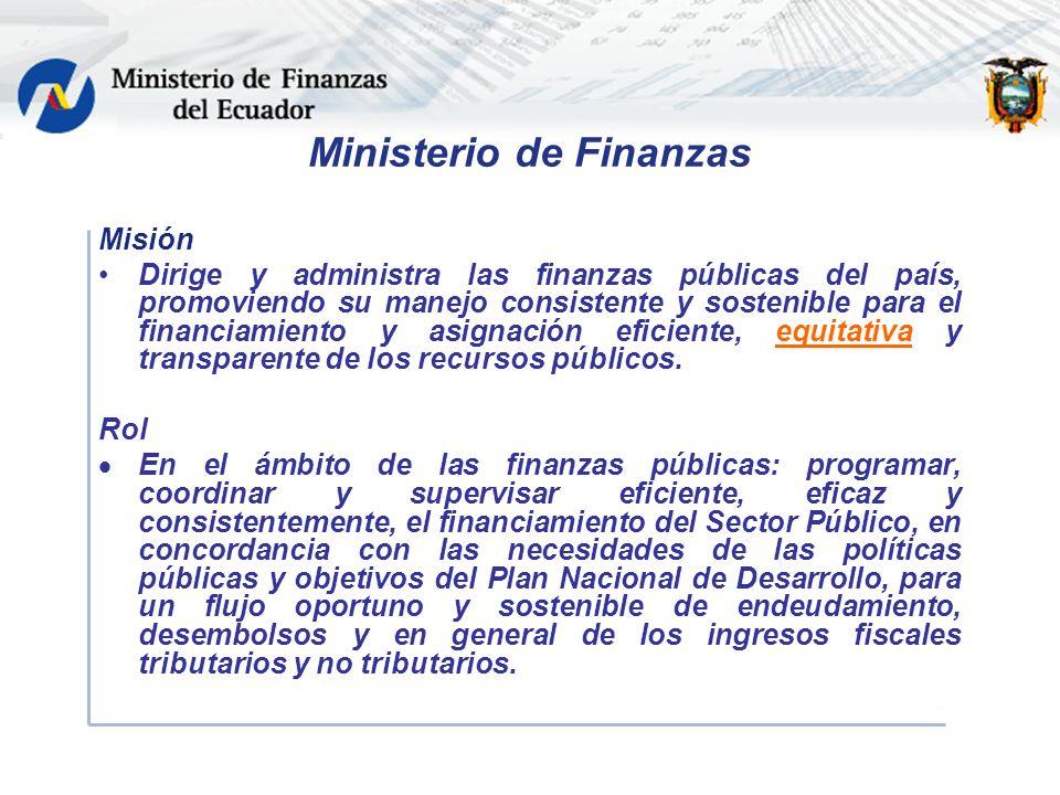 Ministerio de Finanzas Misión Dirige y administra las finanzas públicas del país, promoviendo su manejo consistente y sostenible para el financiamiento y asignación eficiente, equitativa y transparente de los recursos públicos.