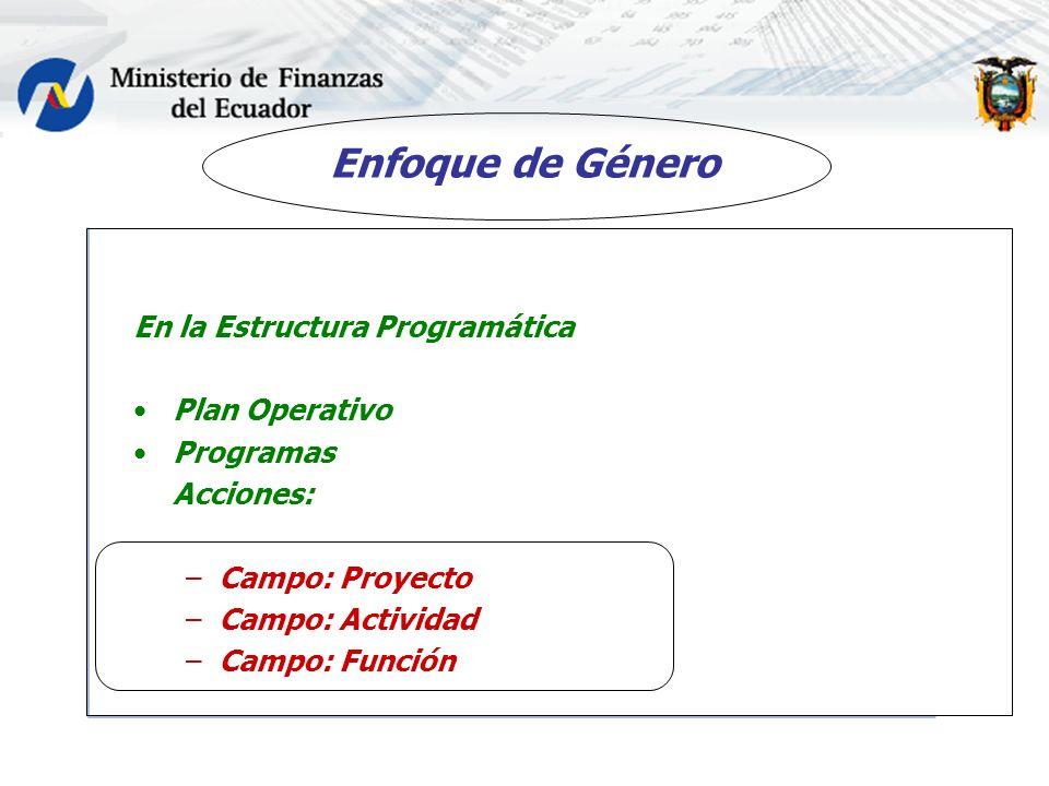 Enfoque de Género En la Estructura Programática Plan Operativo Programas Acciones: –Campo: Proyecto –Campo: Actividad –Campo: Función