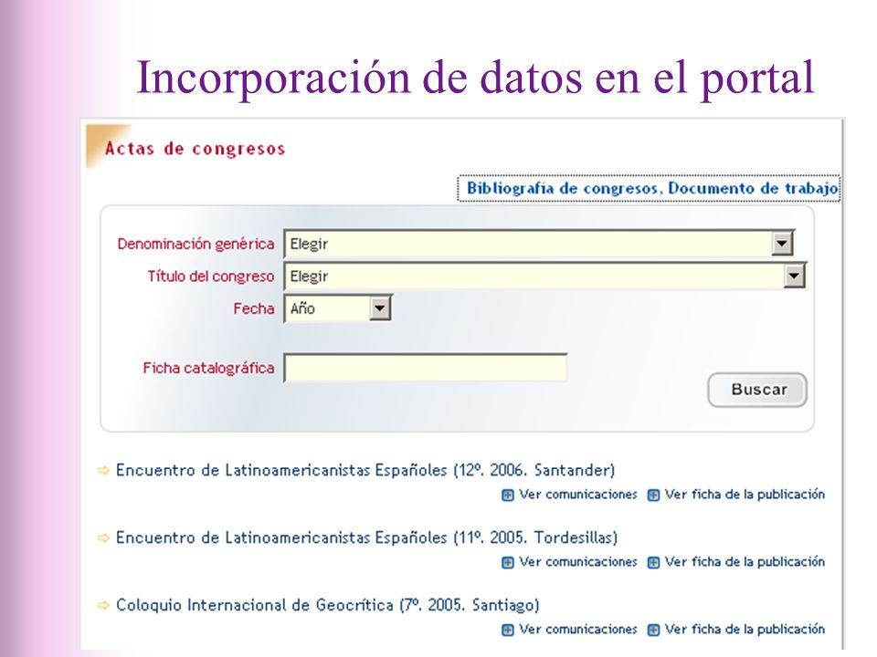 Incorporación de datos en el portal