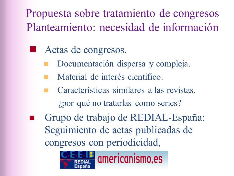 Propuesta sobre tratamiento de congresos Planteamiento: necesidad de información Actas de congresos.