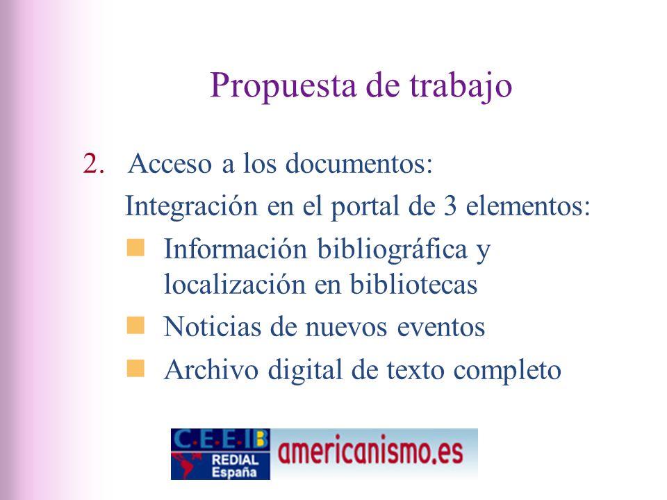 Propuesta de trabajo 2.Acceso a los documentos: Integración en el portal de 3 elementos: Información bibliográfica y localización en bibliotecas Noticias de nuevos eventos Archivo digital de texto completo