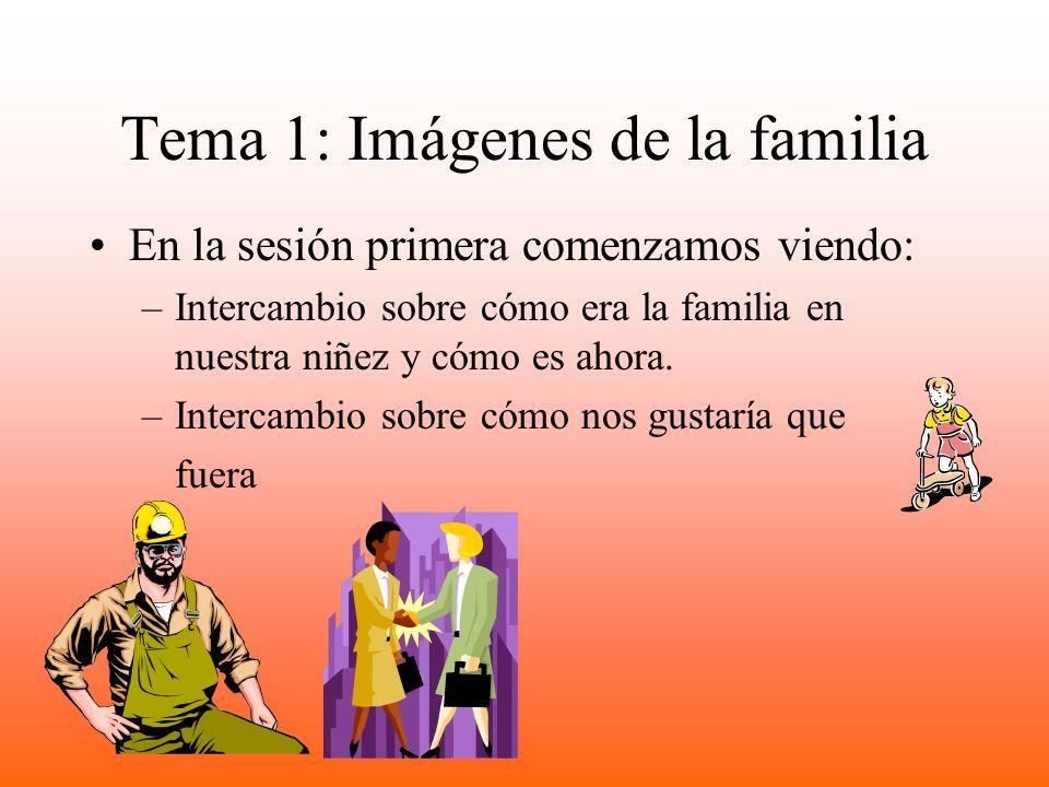 Tema 1: Imágenes de la familia En la sesión primera comenzamos viendo: –Intercambio sobre cómo era la familia en nuestra niñez y cómo es ahora.