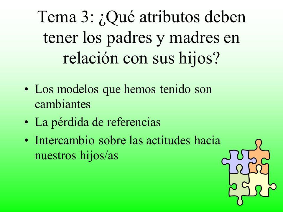 Tema 3: ¿Qué atributos deben tener los padres y madres en relación con sus hijos.