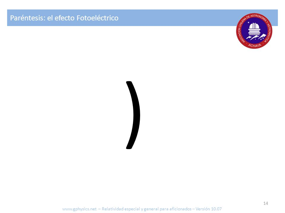 Paréntesis: el efecto Fotoeléctrico ) www.gphysics.net – Relatividad especial y general para aficionados – Versión 10.07 14