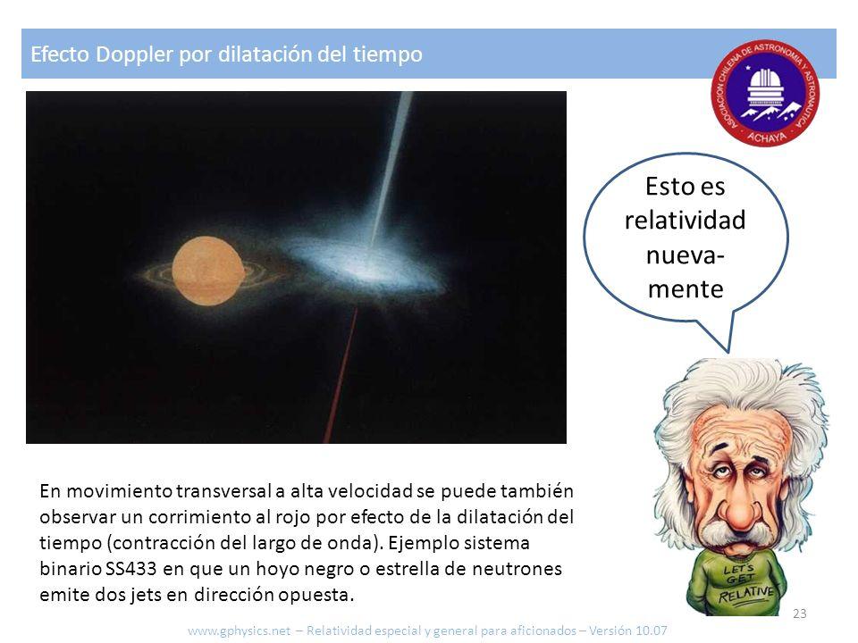 Efecto Doppler por dilatación del tiempo Esto es relatividad nueva- mente En movimiento transversal a alta velocidad se puede también observar un corr