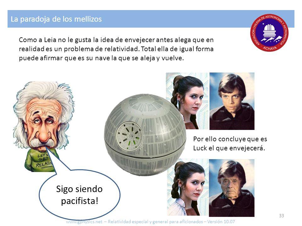 La paradoja de los mellizos Sigo siendo pacifista! Como a Leia no le gusta la idea de envejecer antes alega que en realidad es un problema de relativi