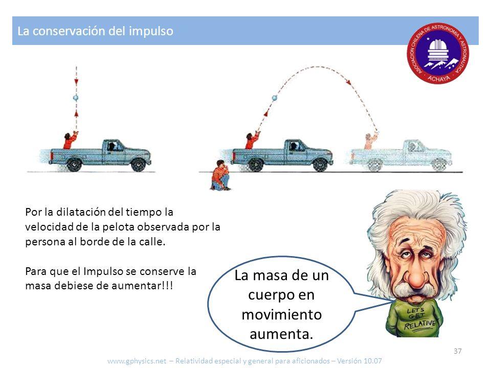 La conservación del impulso La masa de un cuerpo en movimiento aumenta. Por la dilatación del tiempo la velocidad de la pelota observada por la person