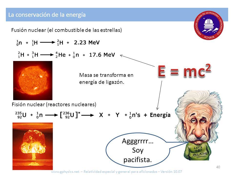 La conservación de la energía Agggrrrr… Soy pacifista. Fusión nuclear (el combustible de las estrellas) Fisión nuclear (reactores nucleares) + Energía