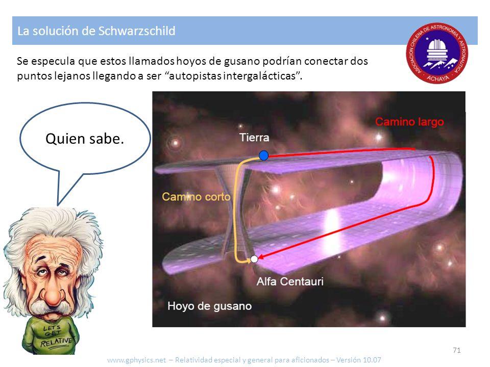 Quien sabe. La solución de Schwarzschild Se especula que estos llamados hoyos de gusano podrían conectar dos puntos lejanos llegando a ser autopistas