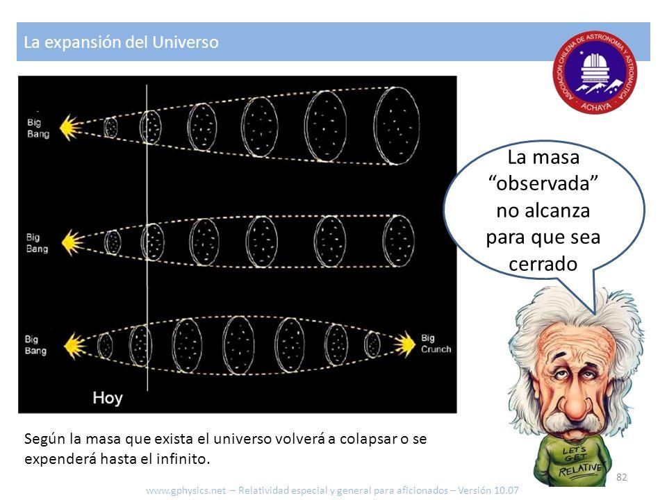 La masa observada no alcanza para que sea cerrado La expansión del Universo Según la masa que exista el universo volverá a colapsar o se expenderá has