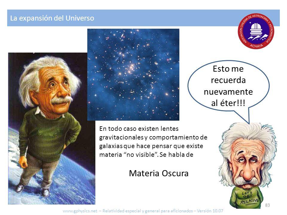 Esto me recuerda nuevamente al éter!!! La expansión del Universo En todo caso existen lentes gravitacionales y comportamiento de galaxias que hace pen