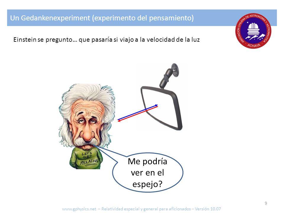 Un Gedankenexperiment (experimento del pensamiento) Einstein se pregunto… que pasaría si viajo a la velocidad de la luz Me podría ver en el espejo? ww