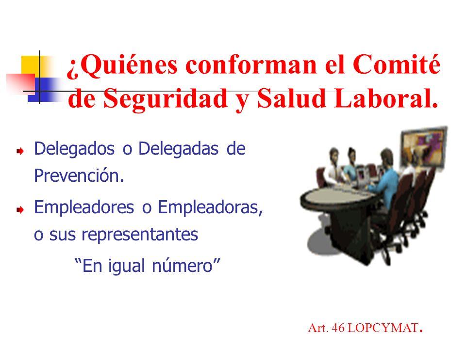 ¿Quiénes conforman el Comité de Seguridad y Salud Laboral.