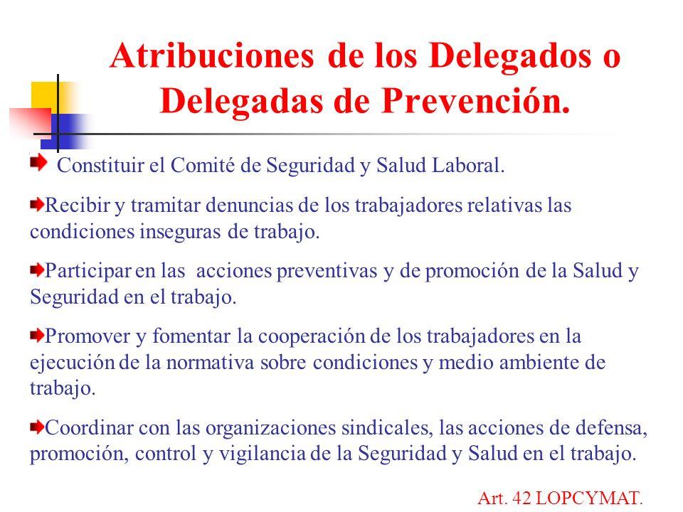 Atribuciones de los Delegados o Delegadas de Prevención.