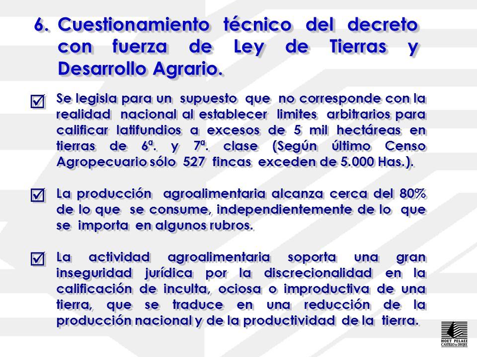 6.Cuestionamiento técnico del decreto con fuerza de Ley de Tierras y Desarrollo Agrario. 6.Cuestionamiento técnico del decreto con fuerza de Ley de Ti