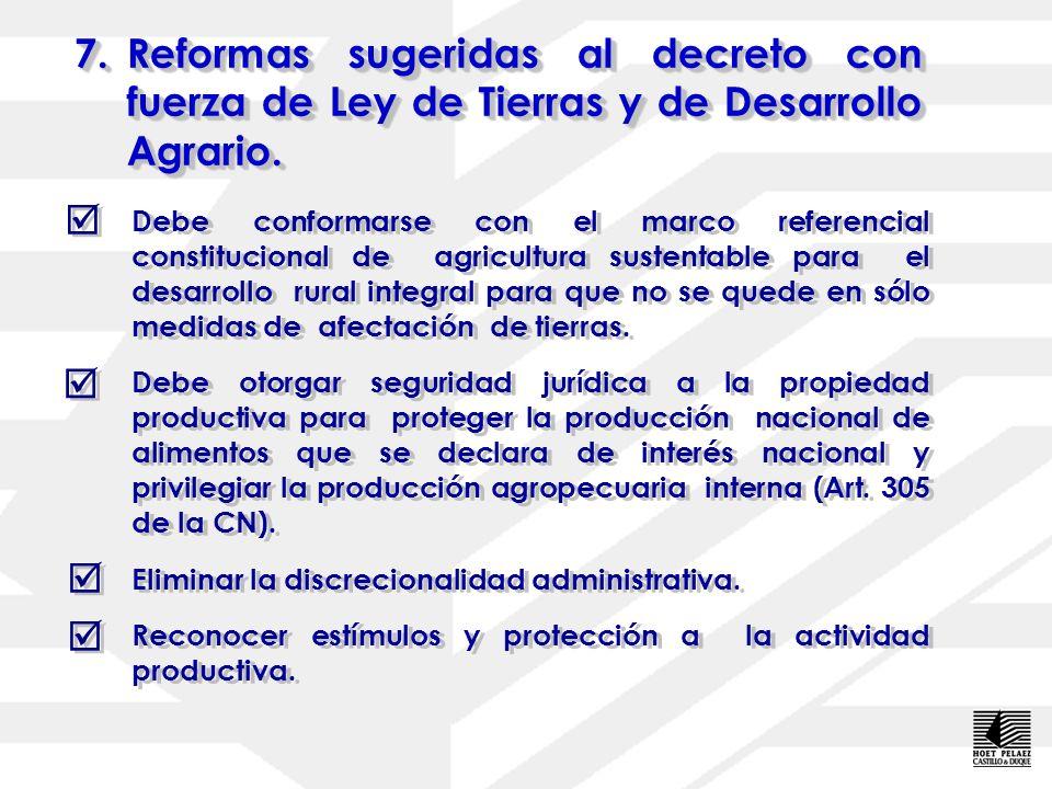 6.Cuestionamiento técnico del decreto con fuerza de Ley de Tierras y Desarrollo Agrario. No excluye las áreas boscosas y de reserva de las superficies