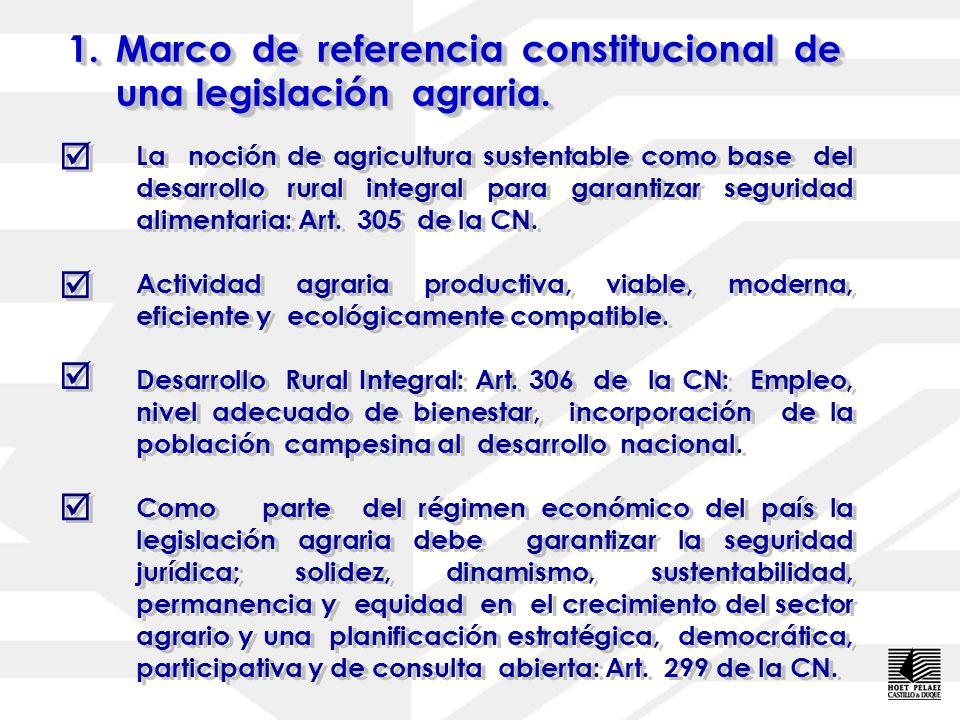 1.Marco de referencia constitucional de una legislación agraria.