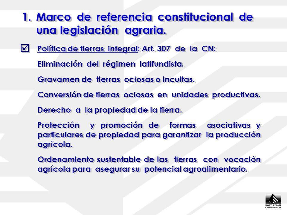 1.Marco de referencia constitucional de una legislación agraria. 1.M arco de referencia constitucional de una legislación agraria. La noción de agricu